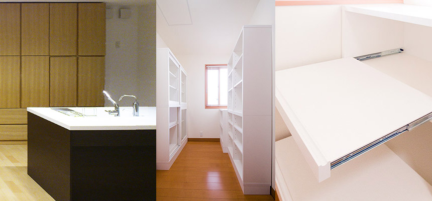 キッチンのオーダー家具で抜群の収納力